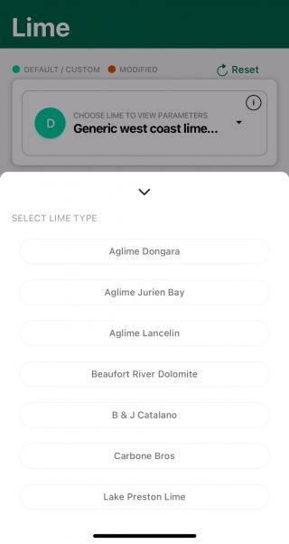 Data for lime suppliers who are members of Lime WA Inc are provided in the app, based on the most recent audit sample. Costs need to be entered, saving the lime as a custom setting