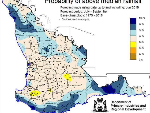 SSF forecast of the probability of exceeding median rainfall for July to September using data up to and including June. Indicating greater than a 40% chance of the majority of the Southwest Land Division receiving above median rainfall.