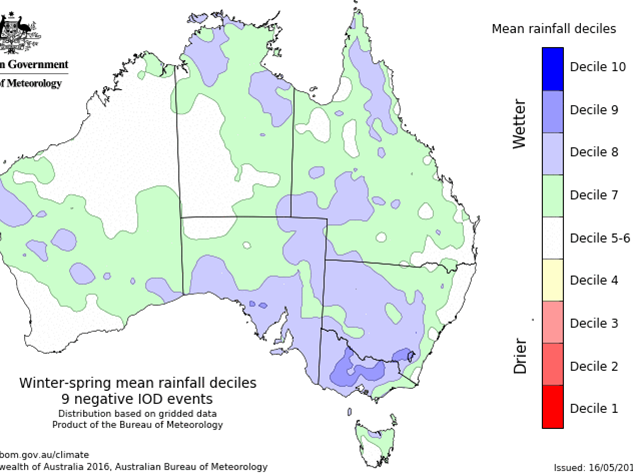 Past nine negative Indian Ocean Dipole events showing areas of increased rainfall in winter-spring for some parts of Australia. The far eastern wheat belt of Western Australia may see an increase in rainfall due to an increase in the number of cloud bands