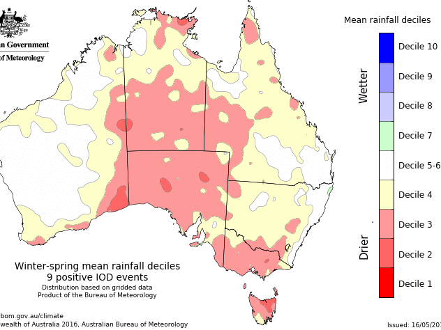 Mean rainfall decile map of Australia from nine past positive IOD events. Indicating reduced rainfall, decile 3-4, for the South West Land Division