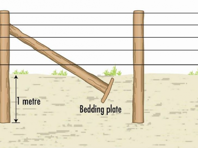 The diagonal stay assembly (below) is most suited to heavy, dense soil conditions. These figures are only a guide, post size may vary.