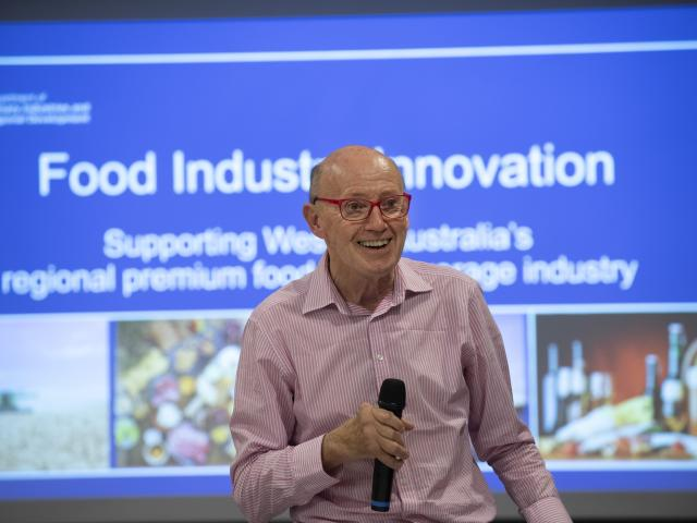 Professor David Hughes speaking at the global food trends seminar in Wanneroo