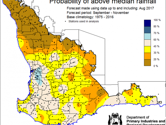SSF forecast of probability of exceeding median rainfall for spring, September to November 2017 indicating 0-40% chance of exceeding median rainfall for the majority of the wheatbelt.