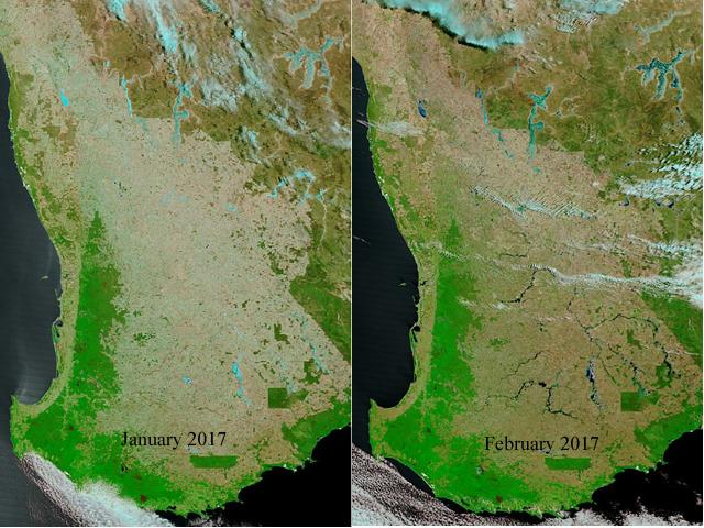 Side by side satellite images of the southern corner of Western Australia