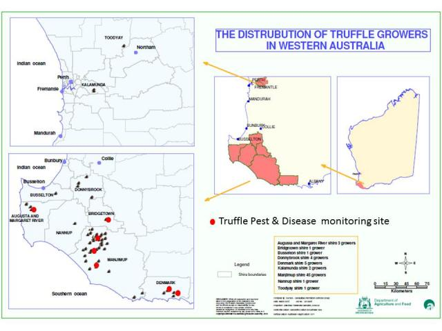 Map showing distribution of WA truffle orchards and monitoring sites