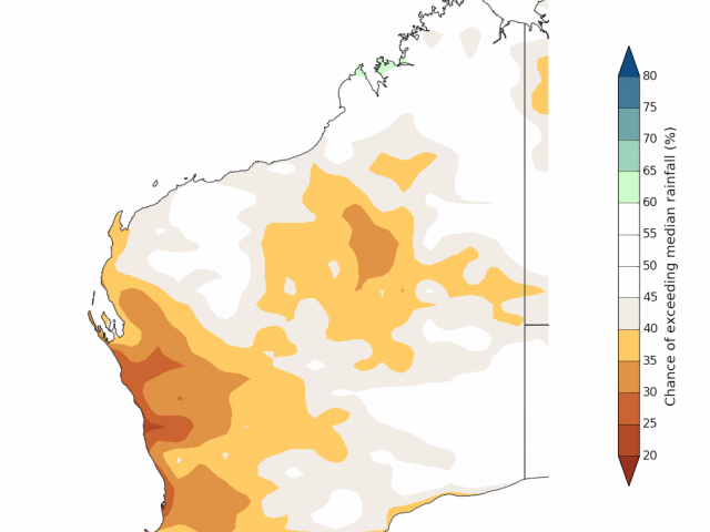 Rainfall outlook for July to September 2019 for Western Australia from the Bureau of Meteorology, indicating a dry outlook for the SWLD.
