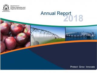 Annual report cover featuring images of apples, an irrigation boom in operation, and an aquaculture project