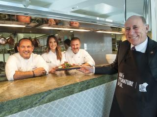 Minister Ken Baston with WA Signature Dish winner Rhiannon Birch and Crown Perth Executive Chef Ralf Vogt and chef and restauranteur Guillaume Brahimi