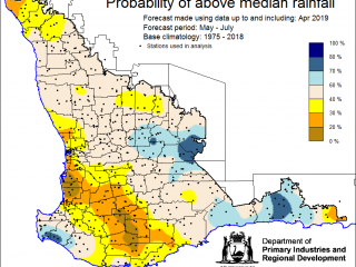 Probability of above median rainfall May to July 2019 map