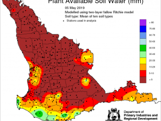 Plant Available Soil Water (mm) map