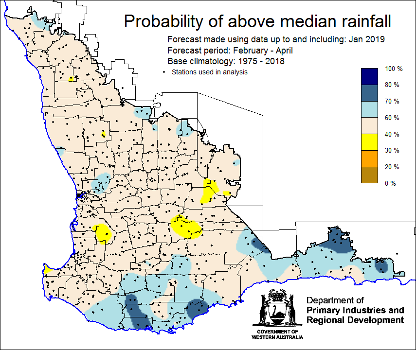 Southwest Australia Map.Seasonal Climate Outlook February 2019 Agriculture And Food