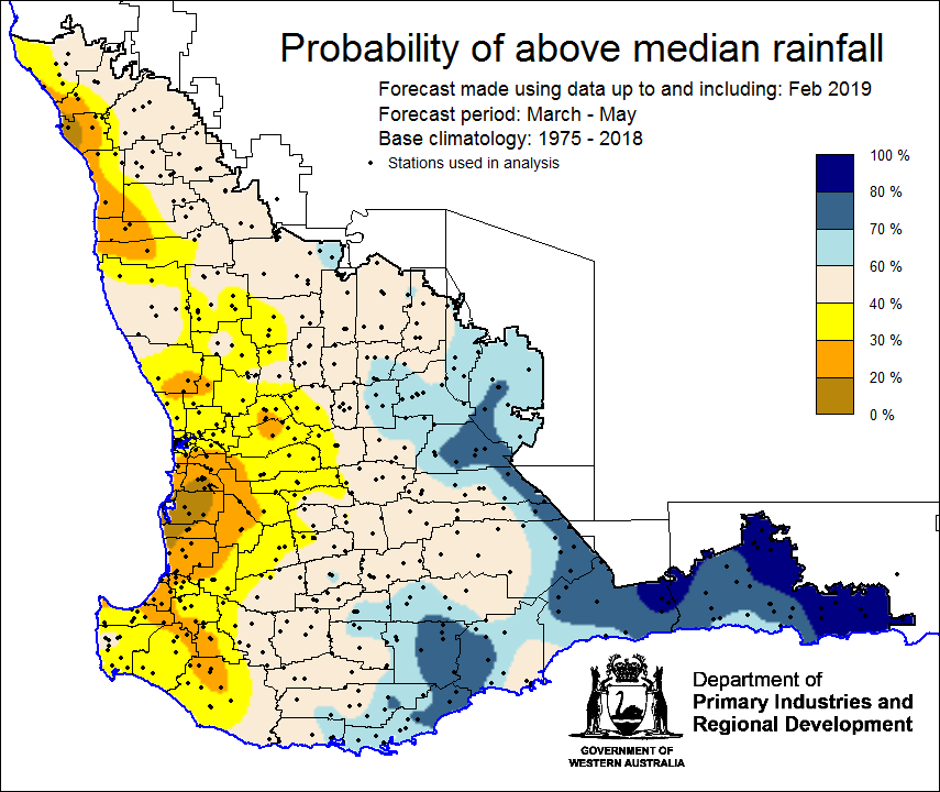 Southwest Australia Map.Seasonal Climate Outlook March 2019 Agriculture And Food