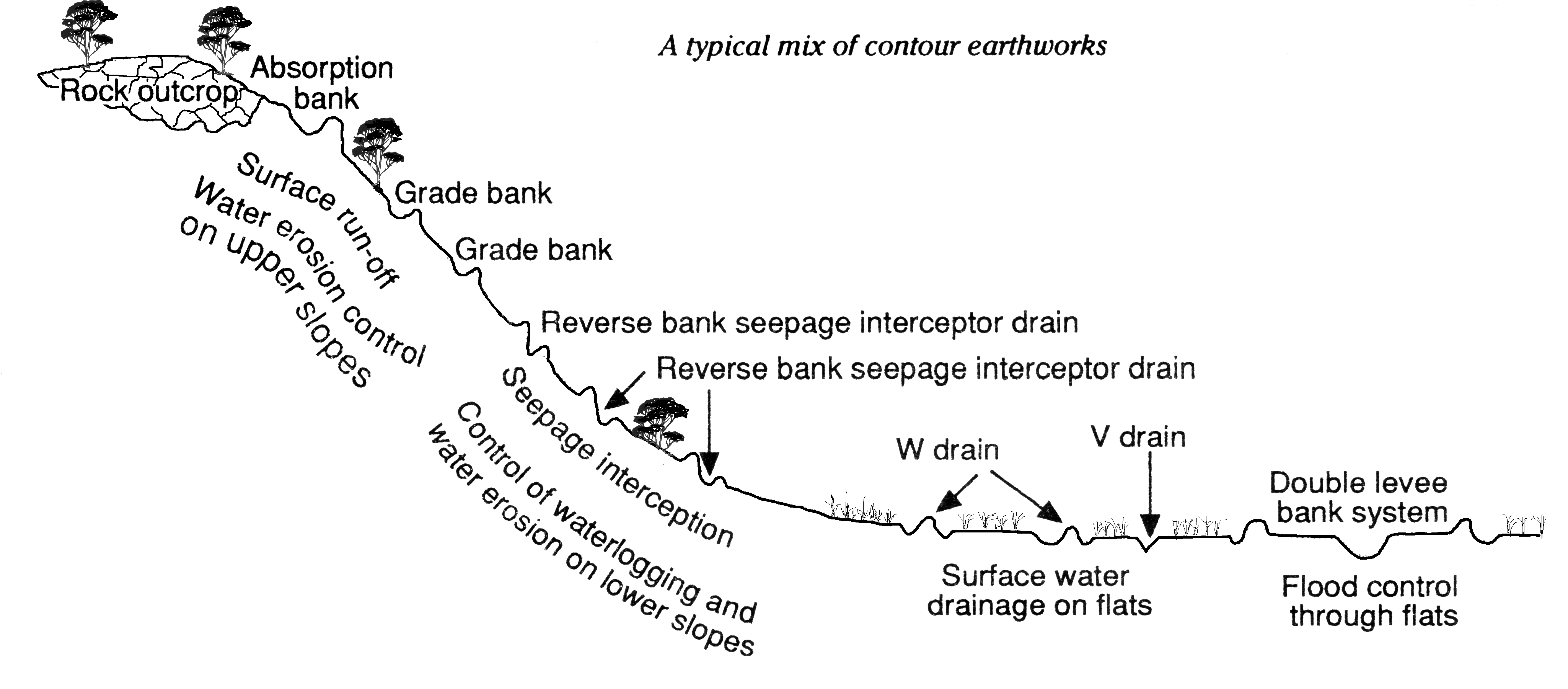 Landscape cross section showing where surface water earthwork options should be placed