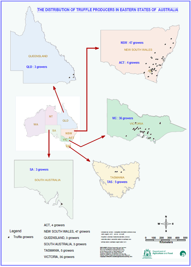 The distribution of truffle growers in the eastern states of Australia