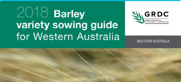 2018 barley variety sowing guide for Western Australia cover