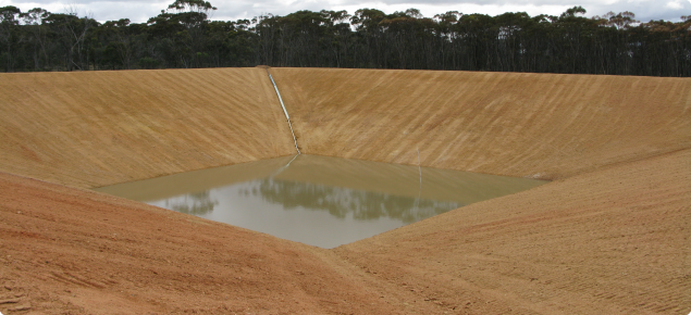 25000m3 four sided excavated earthern tank located above Wagin storing stormwater harvested from the townsite