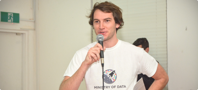 Ministry of Data CEO Tim Sondalini addresses the crowd at the challenges launch event.