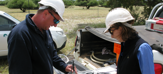 Field testing of water sample obtained from monitoring bore