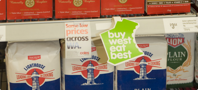 Buy West Eat Best logo on supermarket shelf