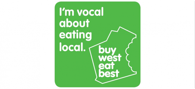 Buy West Eat Best logo with tag line ' I'm vocal about eating local'.