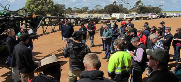 Growers and agribusiness learning about CTF at a field day in WA