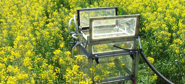photograph showing automated gas chamber - open - measuring greenhouse gas emissions from a  field of canola