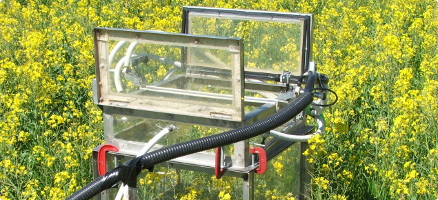 Photograph of an automated gas chamber in open position measuring GHG emissions from crops (canola)