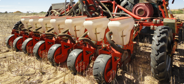 Agricola Italiana K series pneumatic precision drill used to seed the trial