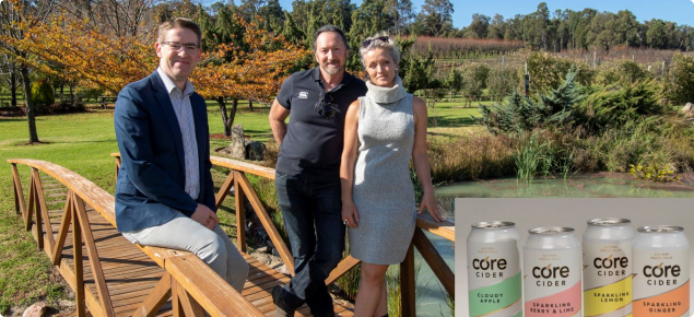 DPIRD Director Liam O'Connell with John Della Franca and Emily Lyons atCore Cider House
