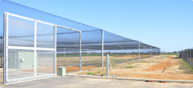 The birdnet infrastructure at New Genes for New Environments at Merredin is pictures here, showing the main gate to the washdown facility at the perimeter exclusion fence.