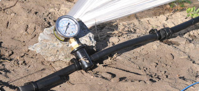 Inline pressure guages can be used to check water pressure at various places on the system