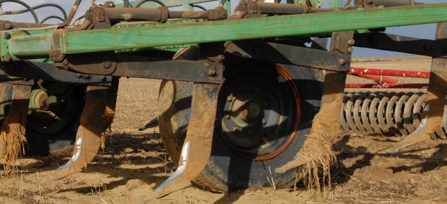 a farm deep ripper after deep ripping a yellow sand paddock
