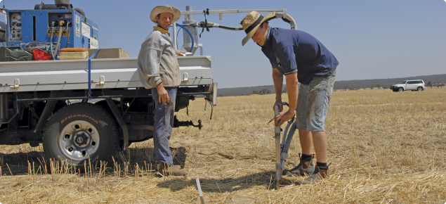 Professional soil sampling contractor operating in a paddock