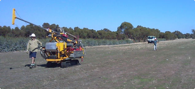 Soil sampling by using soil coring equipment in a mallee-agroforestry area, Wickepin, Western Australia
