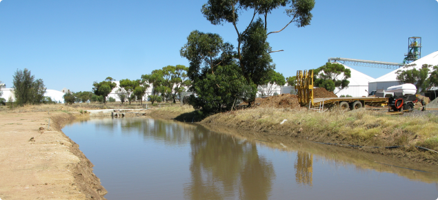 Wagin runoff collection weir near the Shire's Vernon Street depot