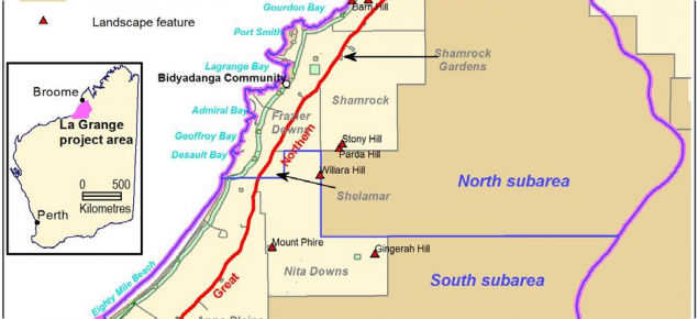 Map showing the project study area in the Pilbara region of Western Australia
