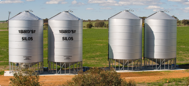 Image of on farm grain silos that can be found typically across the wheat belt