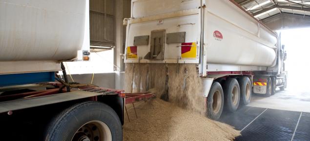 Grain truck unloading