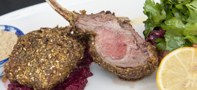 Winning dish is Dorper lamb cutlets with a lupin crumb, served with a sweet potato salad