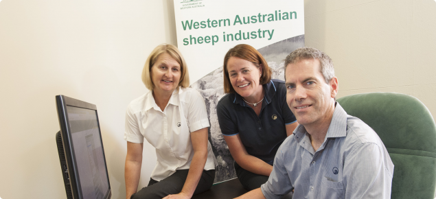 DAFWA sheep NLIS helpdesk Manager Photo of Peter Gray with helpdesk officers Jaquie Pearson on the left and Leigh Sonnemann.
