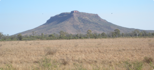 View across the Mantinea Development area to House Roof Hill on the opposite bank of the Ord River, north-east of Kununurra in the East Kimberley