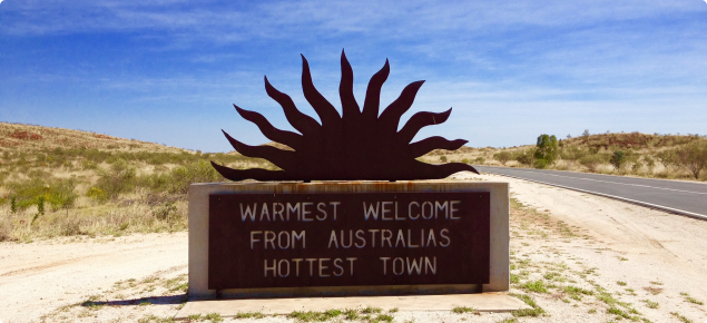 Entrance statement to marbel Bar claiming to be the hottest town in Australia