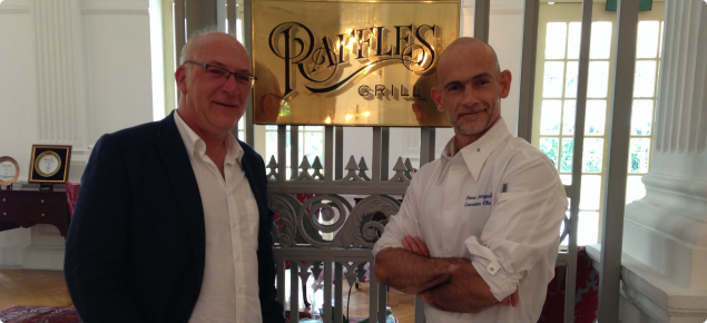 Mark with the Head Chef of Raffles, Singapore