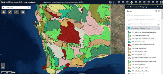Screen capture of the NRInfo land systems map