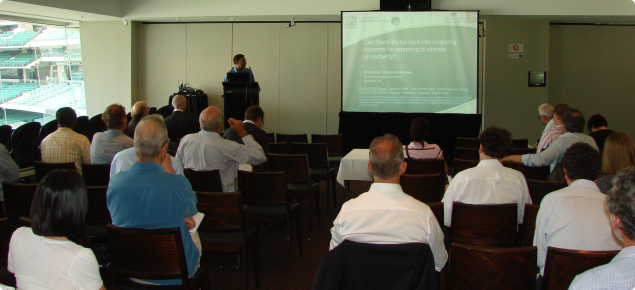 Darshan Sharma presenting a paper on flexibility in cropping systems at a conference of the National Adaptation and Mitigation Initiative (NAMI) at Pattersons Stadium