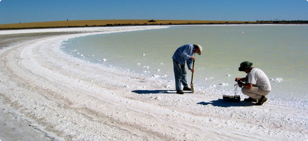 Natural salt lake evaporation basin near Wongan Hills, Western Australia showing crystalline salt