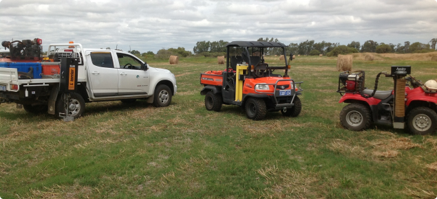 Photograph of the machinery used to collect soil samples for whole farm nutrient mapping