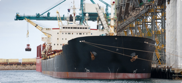 Grain being loaded into container ship at Esperance port in Western Australia