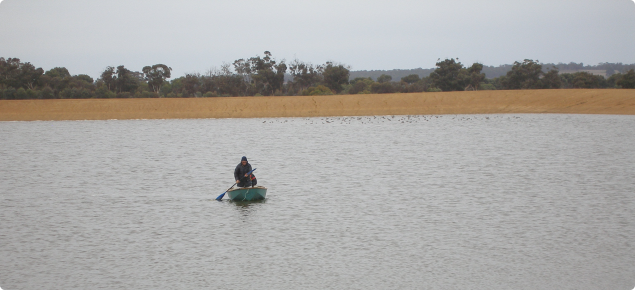 Brave DAFWA staff in a small boat measuring the depth of a large effluent pond