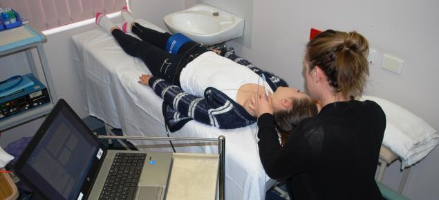 Measuring pulse wave velocity in a volunteer